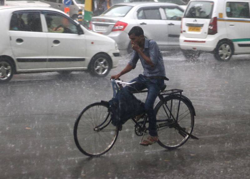Rains lash New Delhi on July 16, 2018.