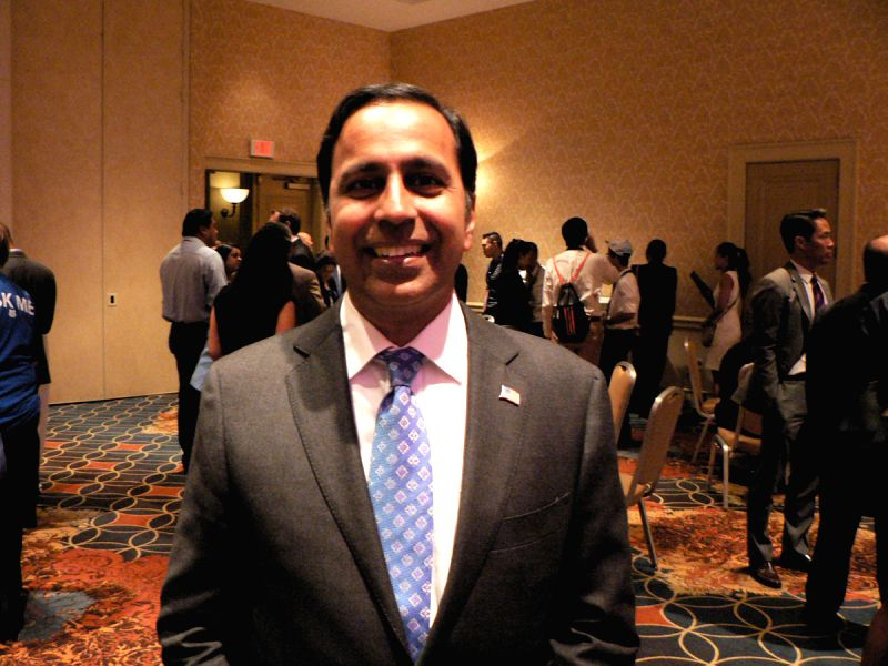Raja Krishnamoorthi, who is running for Congress from Illinois, was presented as Democratic Party\'s ?New Leader of Tomorrow? the Party\'s national Convention in Philadelphia on Wednesday, July 27, ...