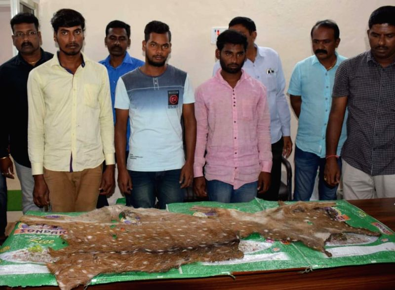Rajanna Sircilla: Police arrested three persons for hunting wild animals and recovered the skin of a spotted deer from them, in Karnataka's Rajanna Sircilla on July 25, 2018.