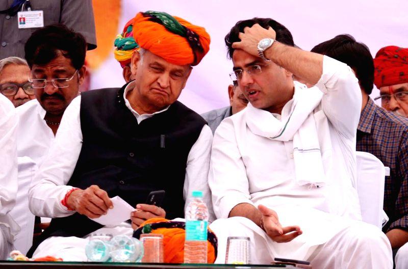 Rajasthan Chief Minister Ashok Gehlot and Deputy Chief Minister Sachin Pilot. (Photo: Shaukat Ahmed/IANS)