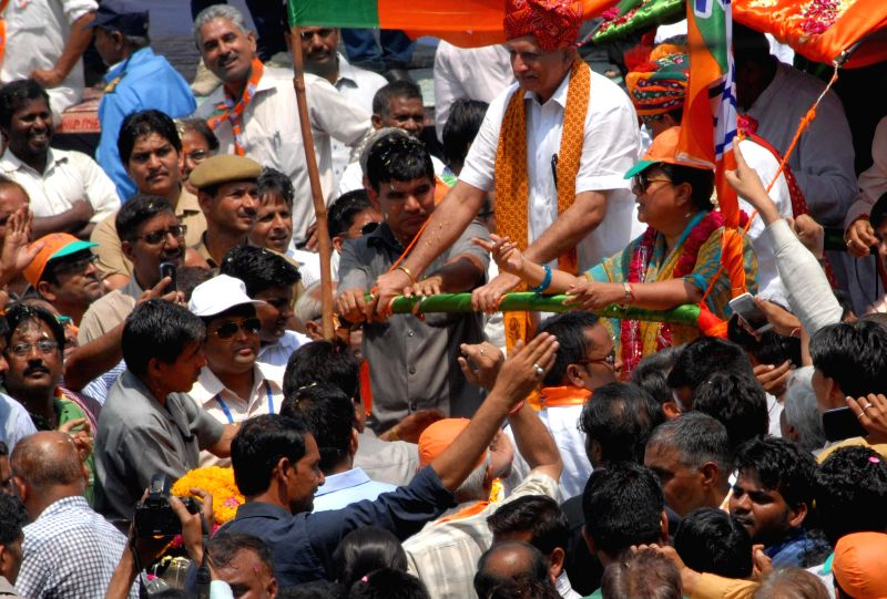 Rajasthan Chief Minister Vasundhara Raje campaigns for BJP's candidate for 2014 Lok Sabha Election from Jaipur Ramcharan Bohra in Jaipur on April 14, 2014.