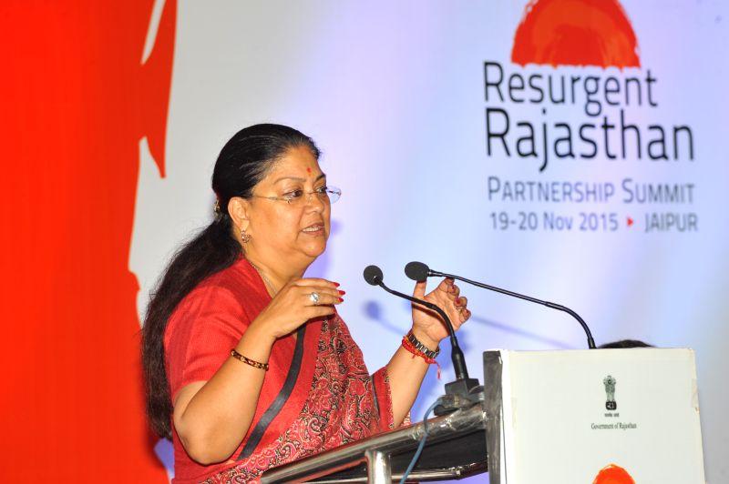 Rajasthan Chief Minister Vasundhara Raje addresses during `Resurgent Rajasthan - Investors Meet` in Kolkata, on April 21, 2015. - Vasundhara Raje