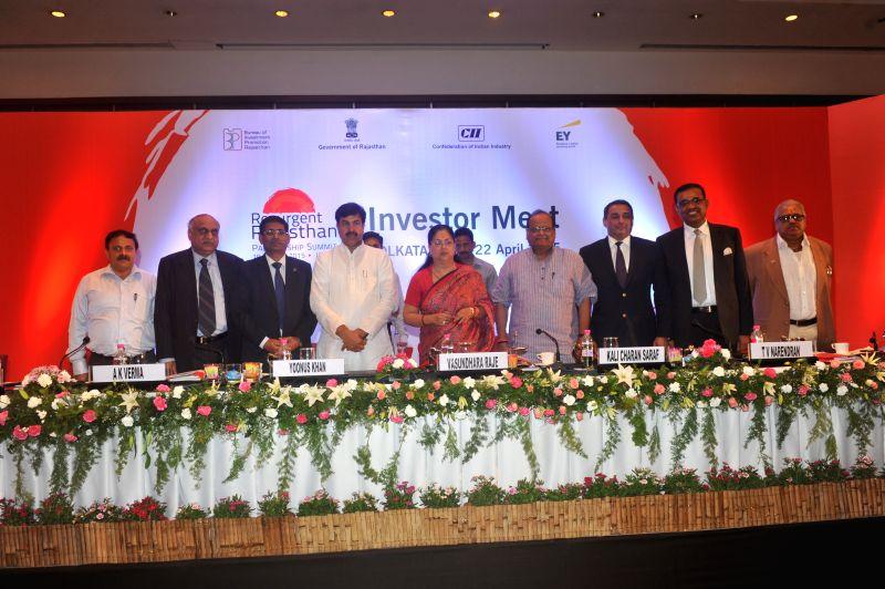 Rajasthan Chief Minister Vasundhara Raje and others during `Resurgent Rajasthan - Investors Meet` in Kolkata, on April 21, 2015. - Vasundhara Raje
