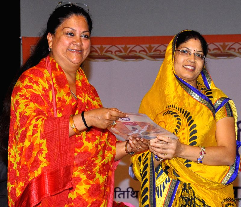 Rajasthan Chief Minister Vasundhara Raje at the launch of 'Pradhan Mantri Jan Dhan Yojana' (PMJDY) in Jaipur on Aug 28, 2014. - Vasundhara Raje