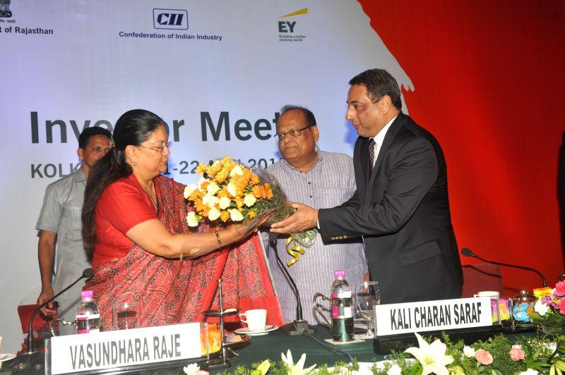 Rajasthan Chief Minister Vasundhara Raje being welcomed during `Resurgent Rajasthan - Investors Meet` in Kolkata, on April 21, 2015. - Vasundhara Raje