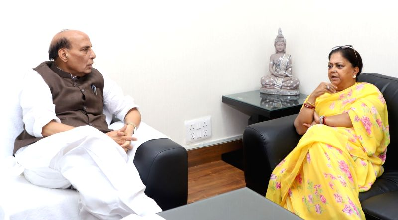 Rajasthan Chief Minister Vasundhara Raje calls on Union Home Minister Rajnath Singh, in New Delhi on June 14, 2018. - Vasundhara Raje and Rajnath Singh