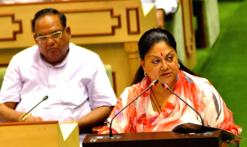 Rajasthan Chief Minister Vasundhara Raje presents Budget for 2014-15 in Rajasthan Legislative Assembly in Jaipur on July 14, 2014. - Vasundhara Raje