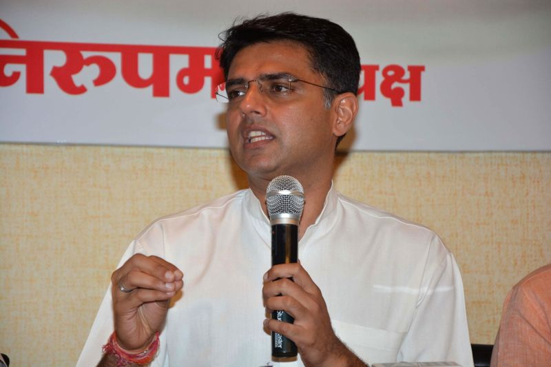 Rajasthan Congress chief Sachin Pilot addresses a press conference in Mumbai on June 9, 2017.
