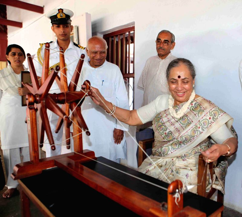 Rajasthan Governor Margaret Alva who has been handed over an additional charge as Governor of Gujarat visits Gandhi Ashram in Ahmedabad on July 8, 2014.