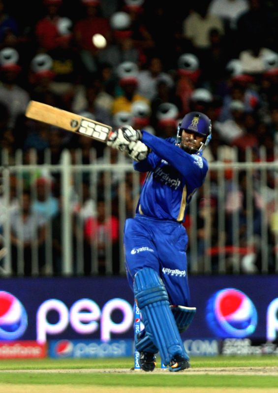 Rajasthan Royals batsman Abhishek Nayar in action during the seventh match of IPL 2014 between Rajasthan Royals and Kings XI Punjab, played at Sharjah Cricket Stadium in Sharjah of United Arab ... - Abhishek Nayar