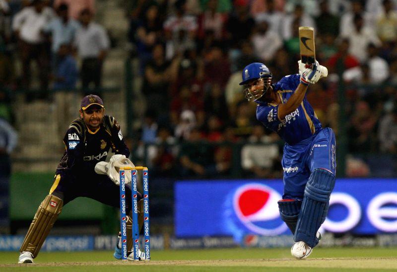 Rajasthan Royals batsman Ajinkya Rahane in action during the 19th match of IPL 2014 between Kolkata Knight Riders and Rajasthan Royals, played at Sheikh Zayed Stadium in Abu Dhabi of United Arab ... - Ajinkya Rahane