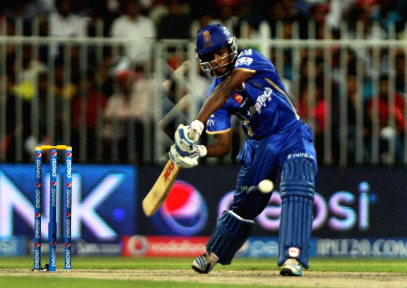 Rajasthan Royals batsman Sanju Samson in action during the seventh match of IPL 2014 between Rajasthan Royals and Kings XI Punjab, played at Sharjah Cricket Stadium in Sharjah of United Arab Emirates - Sanju Samson