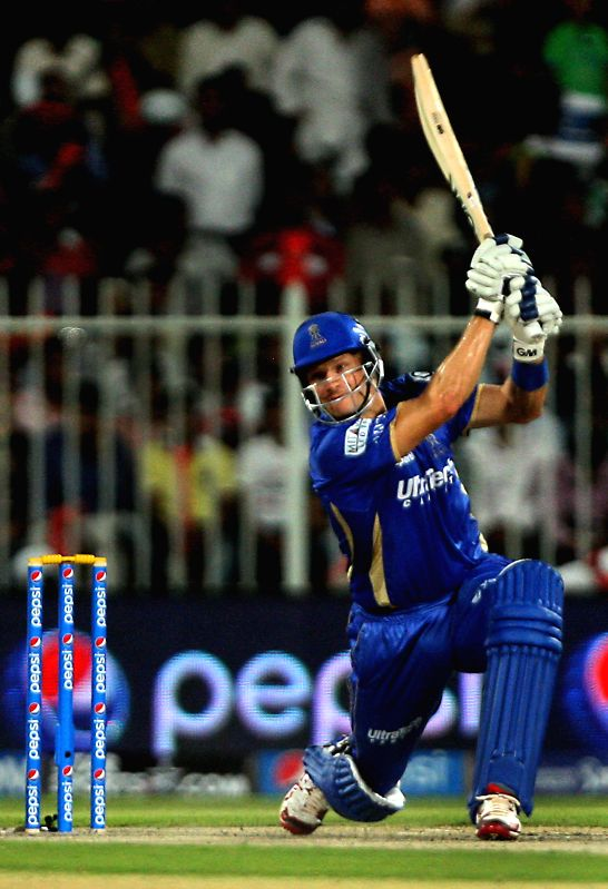 Rajasthan Royals batsman Shane Watson in action during the seventh match of IPL 2014 between Rajasthan Royals and Kings XI Punjab, played at Sharjah Cricket Stadium in Sharjah of United Arab Emirates - Shane Watson