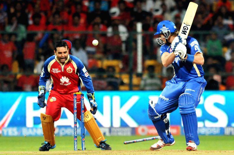 Rajasthan Royals  batsman SR Watson gets bowled during 35th match of IPL 2014 between Rajasthan Royals and Royal Challengers Bangalore at  M Chinnaswamy Stadium in Bangalore on May 11, 2014.