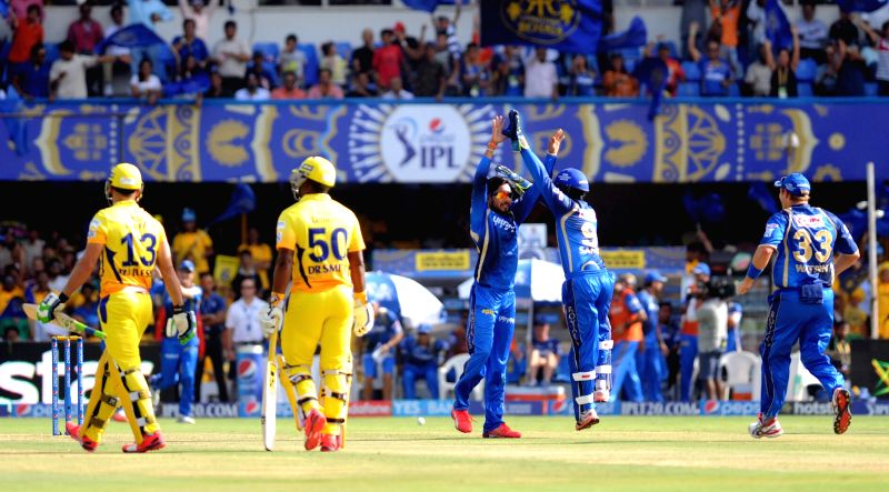 Rajasthan Royals celebrate fall of a wicket during an IPL-2015 match between Chennai Super Kings and Rajasthan Royals at Sardar Patel Stadium, Motera, in Ahmedabad, on April 19, 2015. - Sardar Patel Stadium