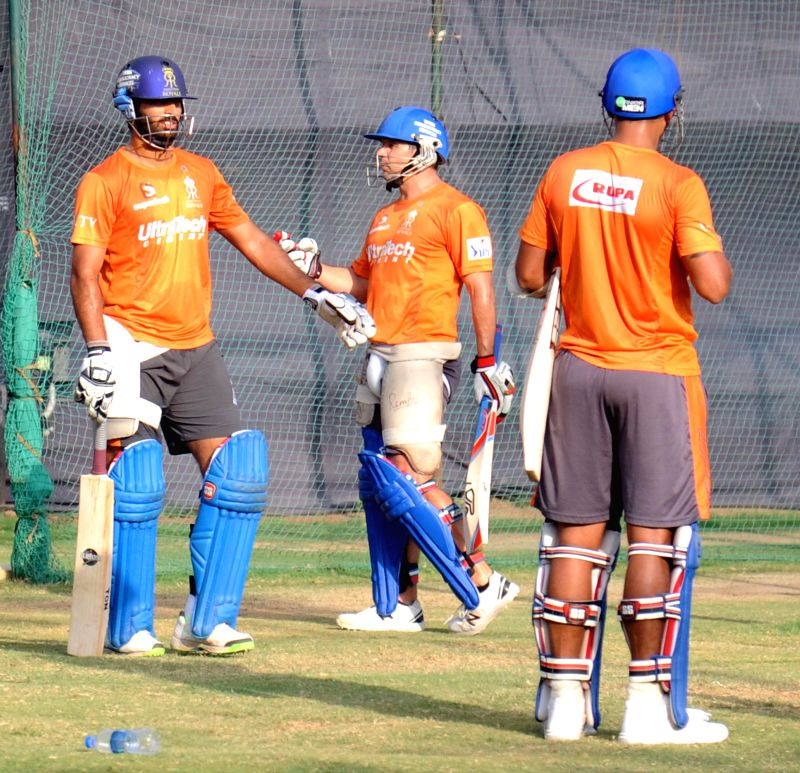 Rajasthan Royals during a practice session at Sardar Patel Stadium in Ahmedabad on May 18, 2014. - Sardar Patel Stadium