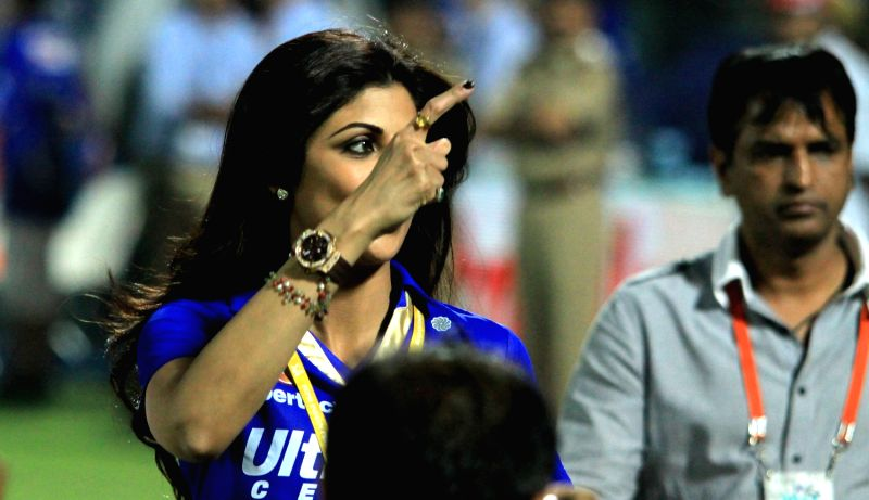 Rajasthan Royals owner Shilpa Shetty during the match between Pune Warriors India and Rajasthan Royals at Sawai Mansingh Stadium, Jaipur at May 5, 2013.