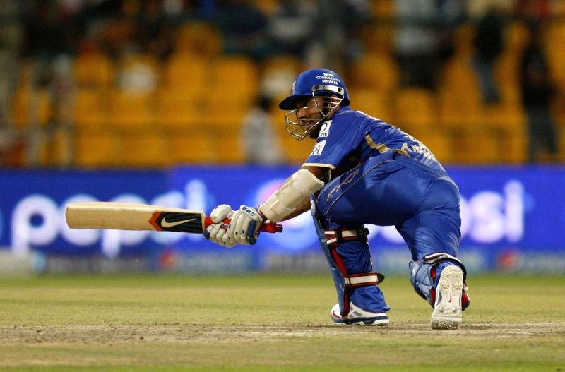 Rajasthan Royals player Ajinkya Rahane in action during the fourth match of IPL 2014 between Sunrisers Hyderabad and Rajasthan Royals, played at Sheikh Zayed Stadium in Abu Dhabi of United Arab ...