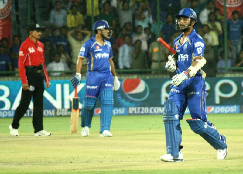Rajasthan Royals player Ajinkya Rahane walks back to the pavilion after his dismissal during the 23nd match of IPL 2014 between Delhi Daredevils and Rajasthan Royals, played at Feroz Shah Kotla in ... - Feroz Shah Kotla