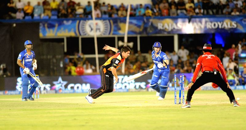 Rajasthan Royals player Steven Smith gets dismissed during the 30th match of IPL 2014 between Sunrisers Hyderabad and Rajasthan Royals at Sardar Patel Stadium in Ahmedabad on May 8, 2014. - Sardar Patel Stadium