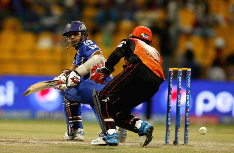 Rajasthan Royals player Stuart Binney in action during the fourth match of IPL 2014 between Sunrisers Hyderabad and Rajasthan Royals, played at Sheikh Zayed Stadium in Abu Dhabi of United Arab ...