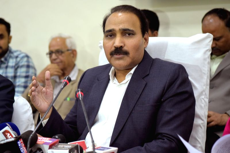 Rajasthan's Chief Electoral Officer (CEO) Anand Kumar addresses a press conference on the eve of Rajasthan Assembly elections, in Jaipur