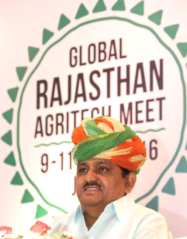 Rajatshan Agriculture and animal husbandry minister Prabhu Lal Saini addresses during a Global Rajasthan Agritech (GRAM) meet in Bengaluru, on Aug 8, 2016. - Prabhu Lal Saini