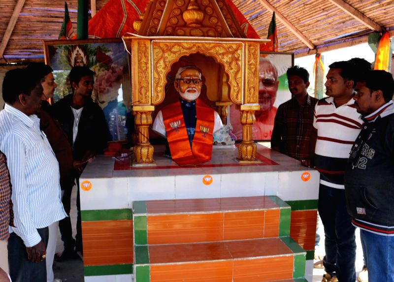 A bust of Prime Minister Narendra Modi installed at a temple in Rajkot, photographed a few days back. - Narendra Modi