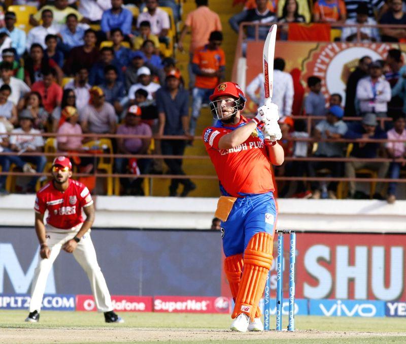 Rajkot : Aaron Finch of Gujarat Lions plays a shot during an IPL 2017 match between Gujarat Lions and Kings XI Punjab at Saurashtra Cricket Association Stadium in Rajkot on April 23, 2017.
