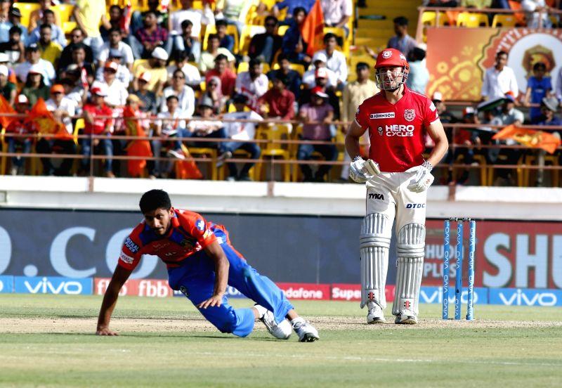 Rajkot : Basil Thampi of  Gujarat Lions during an IPL 2017 match between Gujarat Lions and Kings XI Punjab at Saurashtra Cricket Association Stadium in Rajkot on April 23, 2017.
