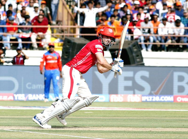 Rajkot : Shaun Marsh of Kings XI Punjab in action during an IPL 2017 match between Gujarat Lions and Kings XI Punjab at Saurashtra Cricket Association Stadium in Rajkot on April 23, 2017.
