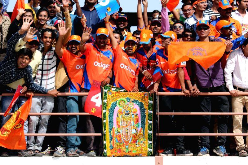 Rajkot : Spectators during an IPL 2017 match between Gujarat Lions and Kings XI Punjab at Saurashtra Cricket Association Stadium in Rajkot on April 23, 2017.