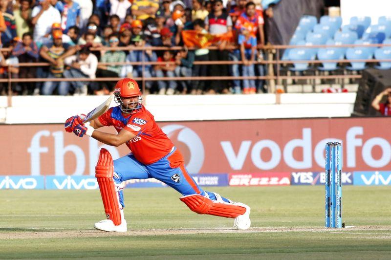 Rajkot : Suresh Raina of Gujarat Lions plays a shot during an IPL 2017 match between Gujarat Lions and Kings XI Punjab at Saurashtra Cricket Association Stadium in Rajkot on April 23, 2017.