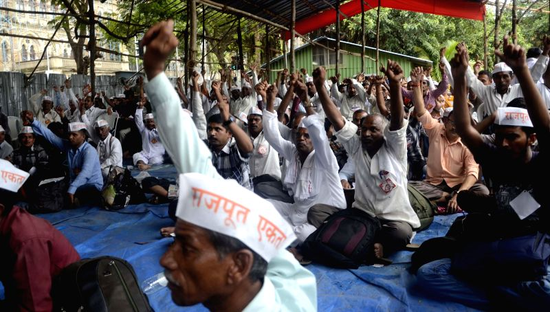 Rajputs stage a demonstration at Azad Maidan in Mumbai on July 23, 2014.