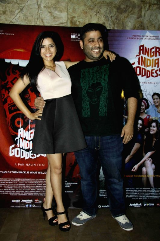 Rajshri Deshpande and filmmaker Gaurav Dhingra during the screening of film Angry Indian Goddesses in Mumbai  Nov  30, 2015