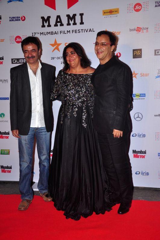 Raju hirani, Gurinder Chadda and Vidhu vinod Chopra during Jio MAMI 17th Mumbai Film Festival Opening Ceremony in Mumbai on Oct 30, 2015.