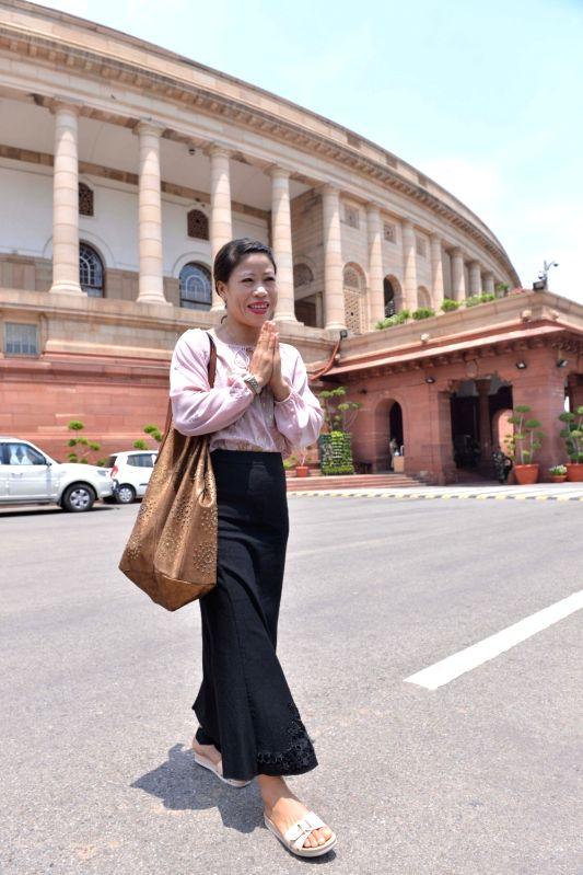 Rajya Sabha MP MC Mary Kom arrives at Parliament, in New Delhi on July 18, 2018. - Mary Kom