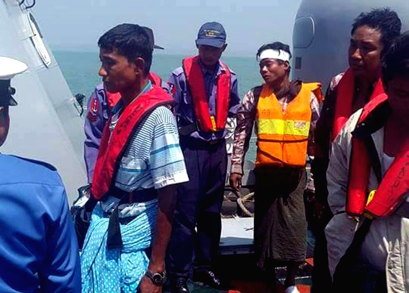 Survivors rescued from the vessel sinkage area were sent to Kyaukphyu township in Myanmar's western Rakhine State, March 14, 2015. At least 21 people died and 47 ...
