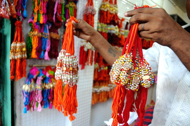 Rakhis on display on the eve of Rakha Bandhan in New Delhi on Aug. 9, 2014.