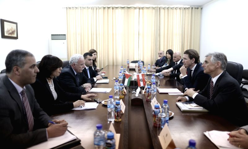 Palestinian Foreign Minister Riyad al-Malki (3rd L) meets with Austrian Minister of Foreign Affairs Sebastian Kurz (2nd R) in the West Bank city of Ramallah on ...