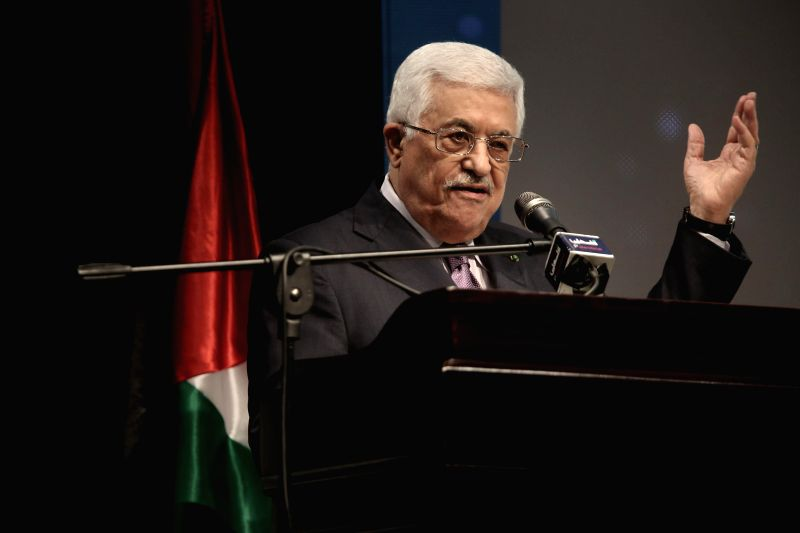 "Palestinian President Mahmoud Abbas addresses the opening ceremony of the ""Jerusalem in Memory"" exhibition in the West Bank city of Ramallah on Jan. 4, ..."