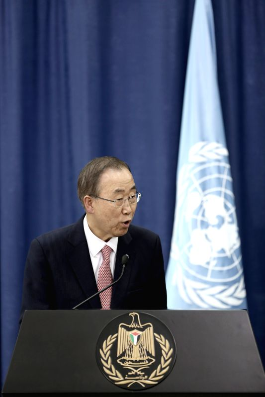 United Nations Secretary General Ban Ki-Moon speaks during a joint news conference in the west bank city of Ramallah on July 22, 2014. UN chief Ban Ki-moon ...