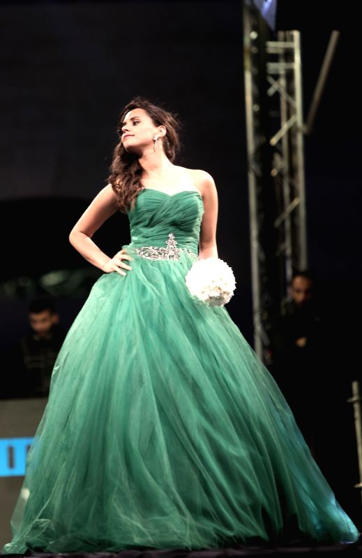 A model displays a creation during the Palestinian Fashion Week on May 2, 2014 in the West Bank city of Ramallah.