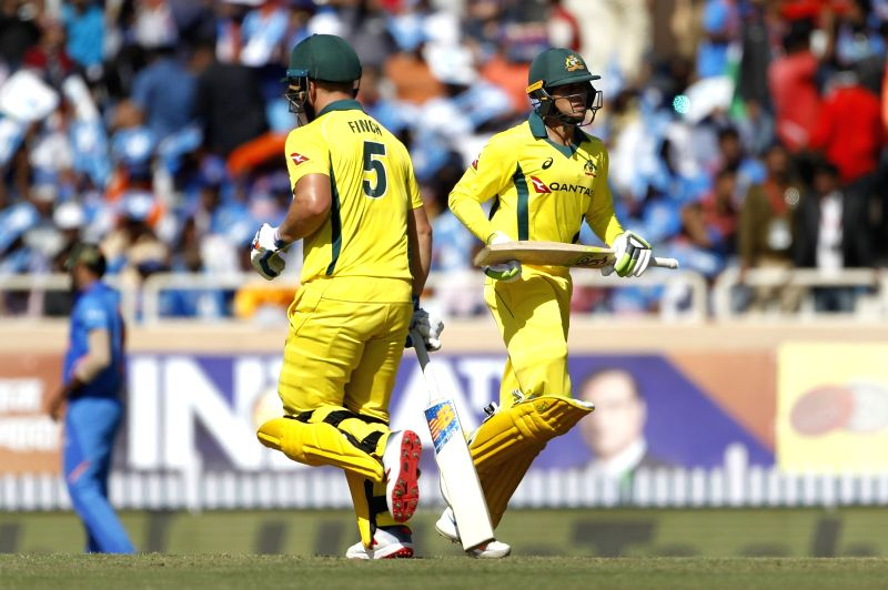 Ranchi: Australia's Usman Khawaja and Aron Finch during the third ODI match between India and Australia at JSCA International Stadium Complex, in Ranchi, on March 8, 2019. (Photo: Surjeet Yadav/IANS)