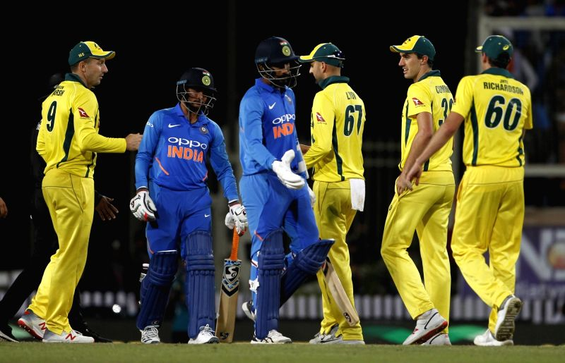 Ranchi: Australian players celebrate after winning the third ODI match against India at JSCA International Stadium Complex in Ranchi on March 8, 2019. (Photo: Surjeet Yadav/IANS)
