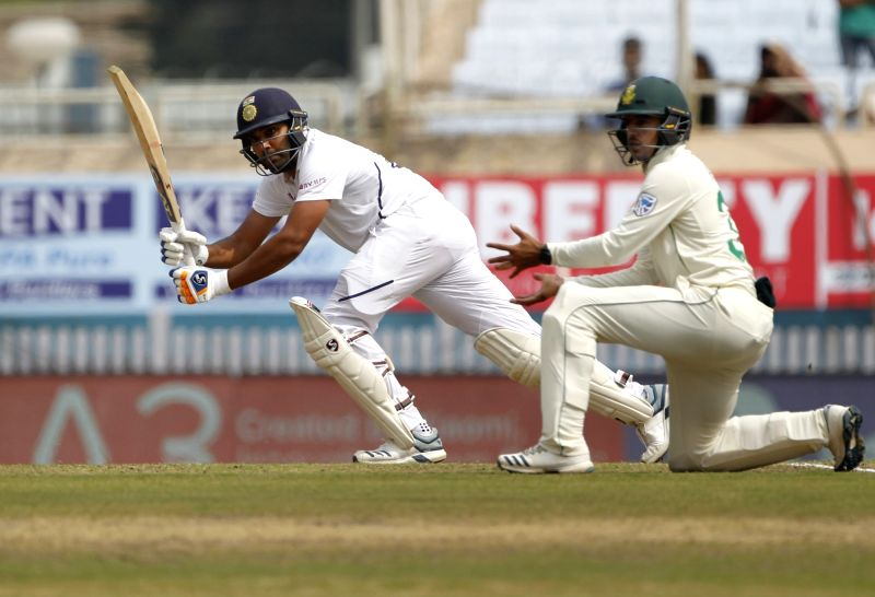 Ranchi: India's Rohit Sharma in action on Day 1 of the 3rd Test match between India and South Africa at JSCA International Stadium Complex in Ranchi on Oct 19, 2019. (Photo: Surjeet Yadav/IANS)
