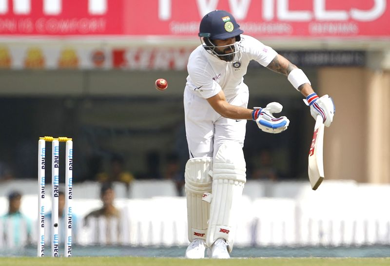 Ranchi: Indian captain Virat Kohli plays a shot during the day one of 3rd Test between India and South Africa in Ranchi on Oct. 19, 2019, (Photo: Surjeet Yadav/IANS)