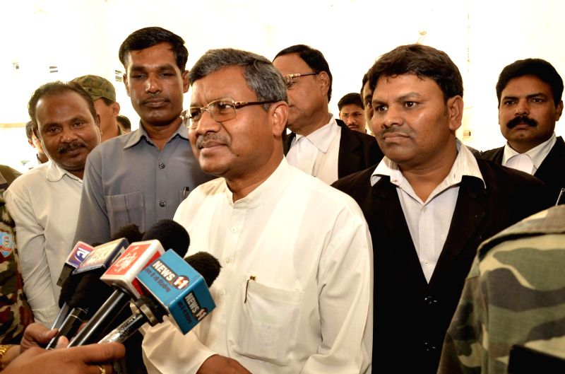 Jharkhand Vikas Morcha (Prajatantrik) (JVM) president Babulal Marandi interacts with media in Ranchi, on April 21, 2015.
