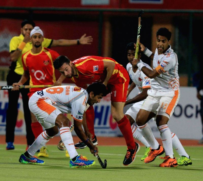 Players in action during a Hero Hockey India League 2015 match between Ranchi Rays and Kalinga Lancers at the Astroturf Hockey Stadium in Ranchi, on Feb. 6, 2015.