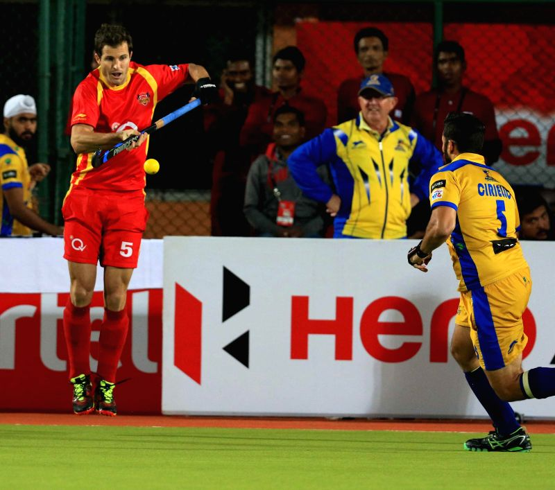 Players in action during a Hockey India League 2015 match between Ranchi Rays and Punjab Warriors in Ranchi on Feb. 10, 2015.